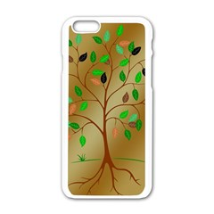 Tree Root Leaves Contour Outlines Apple iPhone 6/6S White Enamel Case