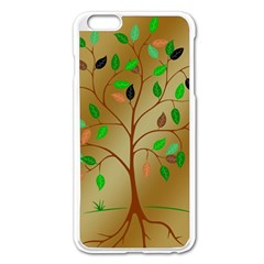 Tree Root Leaves Contour Outlines Apple Iphone 6 Plus/6s Plus Enamel White Case