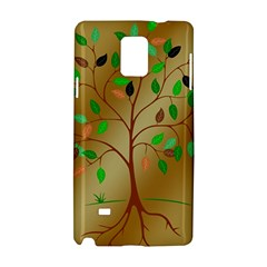 Tree Root Leaves Contour Outlines Samsung Galaxy Note 4 Hardshell Case
