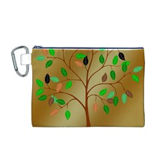 Tree Root Leaves Contour Outlines Canvas Cosmetic Bag (M)
