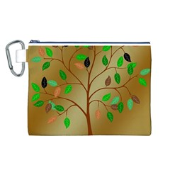 Tree Root Leaves Contour Outlines Canvas Cosmetic Bag (L)