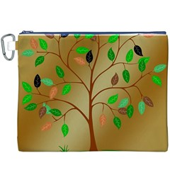 Tree Root Leaves Contour Outlines Canvas Cosmetic Bag (XXXL)