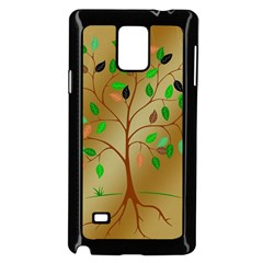 Tree Root Leaves Contour Outlines Samsung Galaxy Note 4 Case (Black)