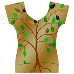 Tree Root Leaves Contour Outlines Women s V-Neck Cap Sleeve Top