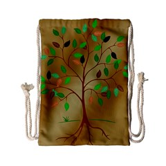 Tree Root Leaves Contour Outlines Drawstring Bag (Small)