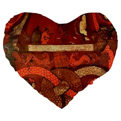 Works From The Local Large 19  Premium Flano Heart Shape Cushions