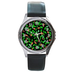 Leaves True Leaves Autumn Green Round Metal Watch