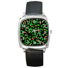 Leaves True Leaves Autumn Green Square Metal Watch