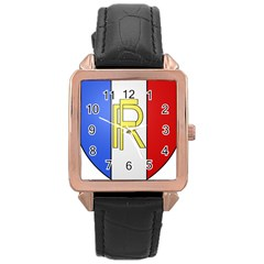 Semi-Official Shield of France Rose Gold Leather Watch