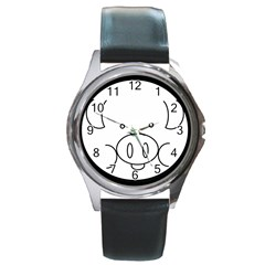 Pig Logo Round Metal Watch