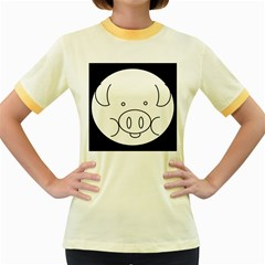 Pig Logo Women s Fitted Ringer T-Shirts