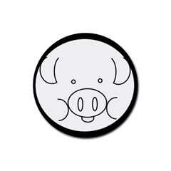 Pig Logo Rubber Round Coaster (4 pack)