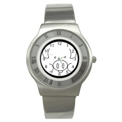 Pig Logo Stainless Steel Watch