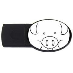 Pig Logo Usb Flash Drive Oval (4 Gb)
