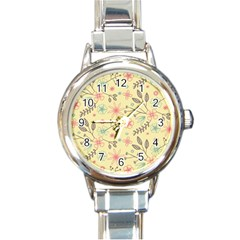 Seamless Spring Flowers Patterns Round Italian Charm Watch