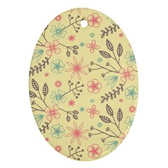 Seamless Spring Flowers Patterns Ornament (oval)