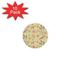 Seamless Spring Flowers Patterns 1  Mini Buttons (10 pack)