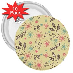 Seamless Spring Flowers Patterns 3  Buttons (10 pack)