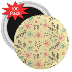 Seamless Spring Flowers Patterns 3  Magnets (100 pack)