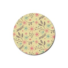 Seamless Spring Flowers Patterns Rubber Round Coaster (4 pack)