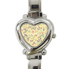 Seamless Spring Flowers Patterns Heart Italian Charm Watch