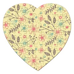 Seamless Spring Flowers Patterns Jigsaw Puzzle (Heart)