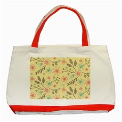 Seamless Spring Flowers Patterns Classic Tote Bag (Red)