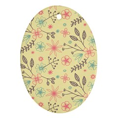 Seamless Spring Flowers Patterns Oval Ornament (Two Sides)