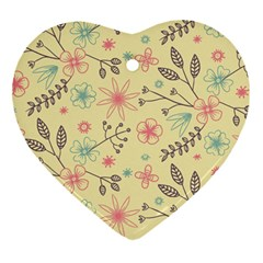 Seamless Spring Flowers Patterns Heart Ornament (Two Sides)