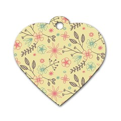 Seamless Spring Flowers Patterns Dog Tag Heart (One Side)