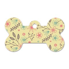 Seamless Spring Flowers Patterns Dog Tag Bone (One Side)