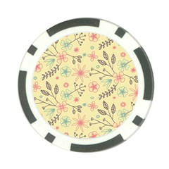 Seamless Spring Flowers Patterns Poker Chip Card Guard