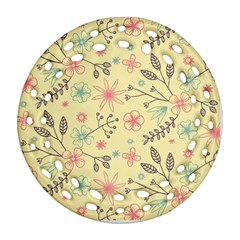 Seamless Spring Flowers Patterns Round Filigree Ornament (Two Sides)
