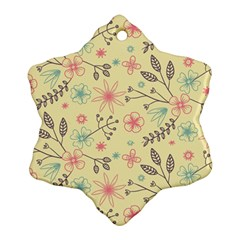 Seamless Spring Flowers Patterns Snowflake Ornament (Two Sides)