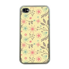 Seamless Spring Flowers Patterns Apple iPhone 4 Case (Clear)