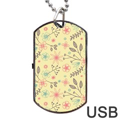 Seamless Spring Flowers Patterns Dog Tag USB Flash (One Side)