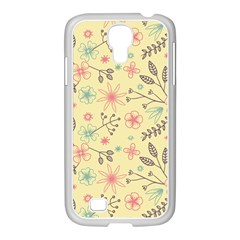 Seamless Spring Flowers Patterns Samsung GALAXY S4 I9500/ I9505 Case (White)