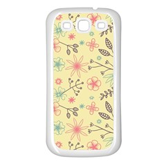 Seamless Spring Flowers Patterns Samsung Galaxy S3 Back Case (White)