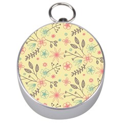 Seamless Spring Flowers Patterns Silver Compasses