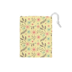 Seamless Spring Flowers Patterns Drawstring Pouches (Small)