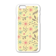 Seamless Spring Flowers Patterns Apple iPhone 6/6S White Enamel Case