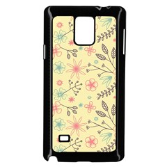 Seamless Spring Flowers Patterns Samsung Galaxy Note 4 Case (Black)