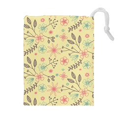 Seamless Spring Flowers Patterns Drawstring Pouches (Extra Large)