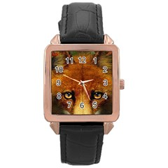 Fox Rose Gold Leather Watch