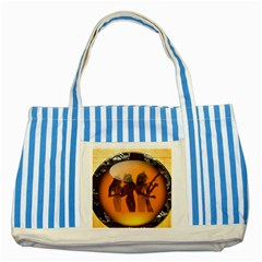 Maps Egypt Striped Blue Tote Bag