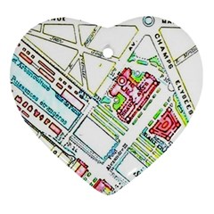 Paris Map Ornament (heart)