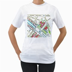 Paris Map Women s T Shirt (white) (two Sided)