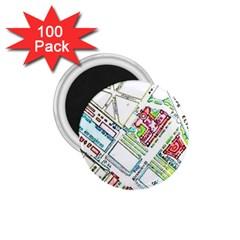 Paris Map 1 75  Magnets (100 Pack)