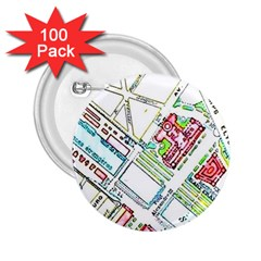 Paris Map 2 25  Buttons (100 Pack)