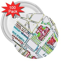 Paris Map 3  Buttons (100 Pack)